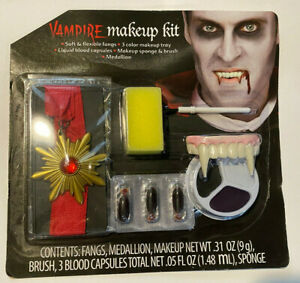 Halloween Vampire Makeup Kit - Makeup, Fangs, Medallion, Blood Capsules