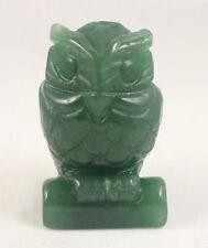 Green Jade carve Owl statue Hand Carved Owl,Gemstone