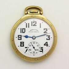 Vintage 51.5mm Gold Filled Open Face Hamilton 992B Railroad Grade Pocket Watch