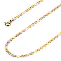 Wellingsale 14k Tri Color Gold Solid 3mm Valentino Star Chain Necklace