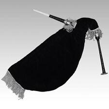 écossais Cygne pratique CORNEMUSE NEUF noir argenté SUPPORTS NOIR VELOURS sac