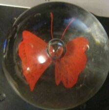Glass Paper Weight With A Red Butterfly In It