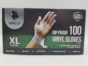 Gorilla Vinyl Gloves Rip Proof Non Sterile Disposable M FDA Approved Box of 100