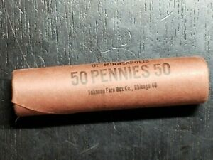 Unopened Roll of BU 1958 D Lincoln Wheat Pennies - US Coins