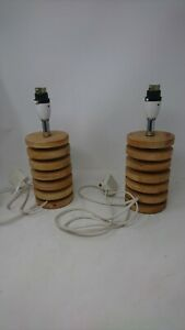 Pair Of Vintage Light Wood Wooden Circular / Round Lamp Stands - No Shades