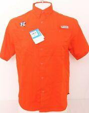 NEW Houston Astros Orange Columbia PFG Tamiami Short Sleeve Shirt Men's L