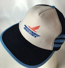 Vintage Piedmont Airlines Hat Cap Three Side Bars Stripes Snapback Made In USA