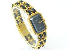 Authentic CHANEL Premiere Size L Gold Plate & Black Leather Ladies Quartz Watch