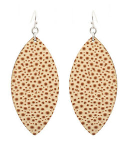 Leather Like Ivory Large Leaf Textured Dangle Wire Earrings