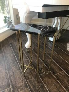 Rare Discontinued Interlude Home Modern End Table Side Marble Brass 14x8x21 HTF