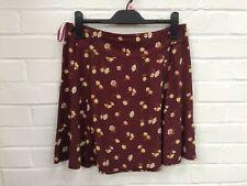 Ladies Next Burgundy Winter Floral Holiday Short Skirt Size UK 12 #R3-CF