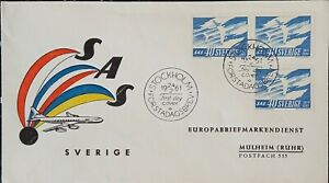 SWEDEN  Flight FDC 1961 Cachet 3 Stamps. SAS 10 Years