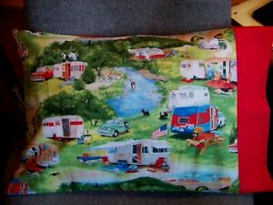 """TRAVEL SIZE PILLOWCASE 2 SIDED VINTAGE CAMPING TRAILERS /RED CUFF 14""""X20"""" #5112"""
