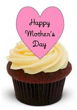 NOVELTY HAPPY MOTHERS DAY HEART 12 STAND UPS Edible Cupcake Cake Toppers Mum Mom
