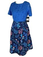 Marc Angelo Blue Floral Lace Fit And Flare Tea Dress Size 10 S