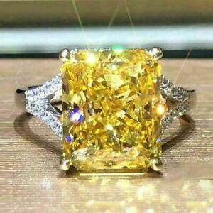 4Ct Emerald Cut Yellow Citrine Halo Engagement Ring Solid 14K White Gold Finish
