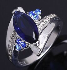 Delicate Jewellry Size 7 Anniversary Blue Sapphrie 18K Gold Filled Womens Ring