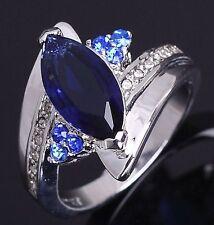 Size 7 Blue Sapphrie Women's 18K White Gold Filled Fashion Wedding Rings Gift