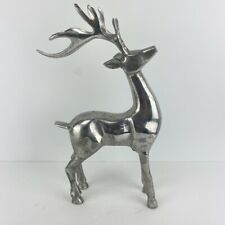 Pewter Deer Reindeer Figurine Statue Christmas Decoration Buck Horns Silver Tone