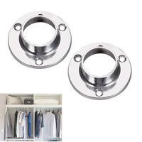 19/22/25mm Round Zinc Alloy Wardrobe Rail Fitting Rod End Support Socket Ring AU