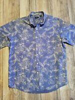 Arrow USA 1951 Men's XL Hawaiian Blue Pineapple Short Sleeve Cotton/Polyester