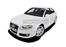 AUDI RS4 GRAPHIC CAR ART PRINT PICTURE (A4 SIZE). ADD REG PLATE, CHOOSE COLOUR