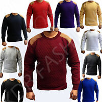 Quilted Shoulder Elbow Patch Jumper Sweatshirt Top Men's Size S-M-L-XL