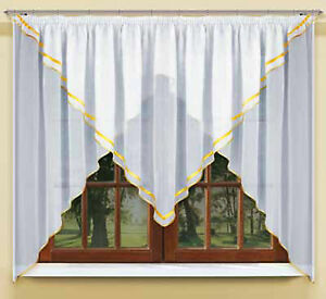 Window Net curtain with trimming and made of white voile with curtain tape