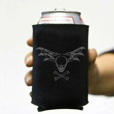 Batwing Skull Goth Pirate Beer Pop Soda Can Koozie Koolie Cozy Death Coolie