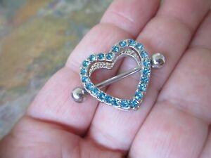 2x Blue Heart Double Layer Rhinestone Sexy Piercing Nipple Bars Body Jewellery