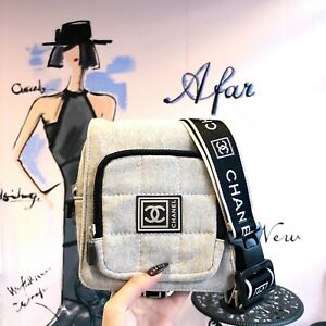 Auth CHANEL Sports Line Waist Bag Gray Black Vintage From Japan