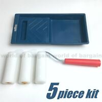 """5pc Kit 4"""" inch Mini Paint Roller Handle 2 Refills Foam Cover 3/8"""" NAP Tray T064"""