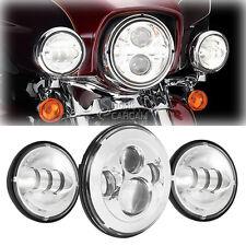 "Chrome 7"" Daymaker LED Headlight Passing Bulbs For Harley Road King Police FLHP"