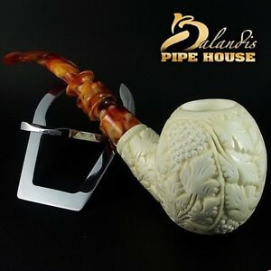 "Original Mr.Reis Handmade Meerschaum Smoking Pipe ""Madhan Flowers"" Big bowl"