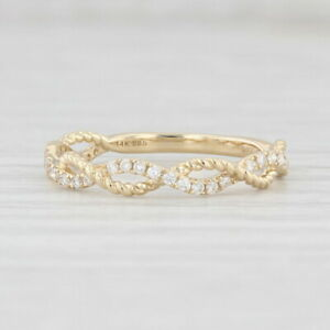 New 0.16ctw Woven Diamond Ring 14k Yellow Gold Size 6.5 Wedding Stackable Band