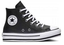 Scarpe da donna Converse all star 666391C sneaker alte platform chuck pelle nere