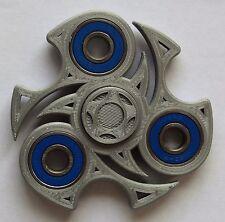 SILVER NINJA  Fidget 3 D Printed Hand Spinner With  Blue  Steel  Bearings USA !