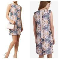 Ted Baker Multi Color Floral Pink Purple Shift Dress Illonia Size 4 CUTE Lined