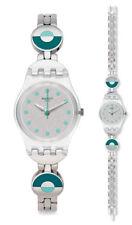 Swatch Blue Pastel Uhr LK377G Analog  Edelstahl Silber,Türkis
