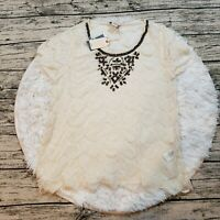 NWT Lucky Brand Women's Sheer Lace Beaded Top Size Medium M
