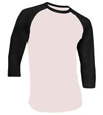 3/4 Sleeve Plain Baseball Raglan T-Shirt Tee Mens Sports Team Jersey 30+ Colors