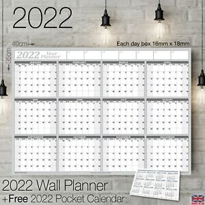 2022 Yearly Planner Annual Wall Chart Year Planner 12 Month+FREE Pocket Calendar