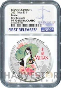 2021 DISNEY PRINCESS - MULAN - 1 OZ. SILVER COIN - NGC PF70 FIRST RELEASES W/OGP