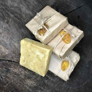 Natural amber organic soap with cinnamon.