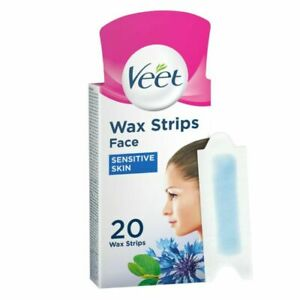 VEET Face Wax Strips with Easy Grip Almond Oil and Vitamin E - 20 Strips