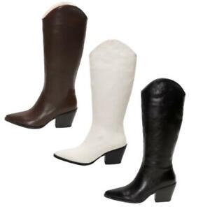 Hot Women Block Heel Pointy Toe Knee High Boots Biker Riding Shoes Casual Punk L