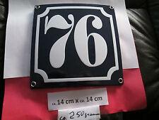 Hausnummer Emaille Nr. 76 weisse Zahl auf blauem Hintergrund 14 cm x 14 cm .....