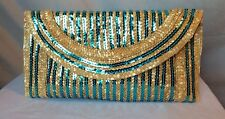 Handmade Straw Teal Sequence Clutch Purse lightweight brown and blue