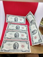 6 XF+ Note AA Set 1953 ABC+ 1963 & A $2 United States Red Seal LEGAL TENDER NOTE