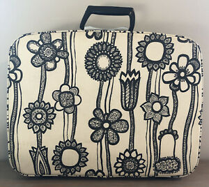Vintage Samsonite Fashionaire Suitcase Black White Flower MCM 60's Carry On